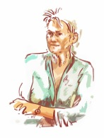 Sketch of me by Alban Low, artist in residence at Kingston